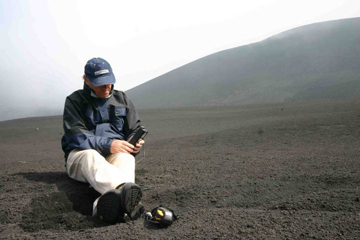 Microtops II sunphotometer in use on Mt. Etna